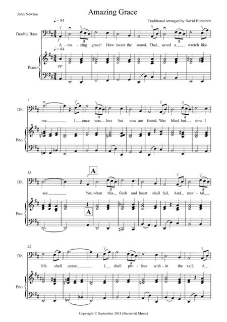 Amazing Grace for Double Bass and Piano
