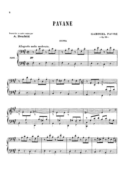 Faure Pavane, for piano duet(1 piano, 4 hands), PF801