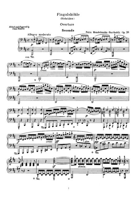 Mendelssohn The Fingal's Cave Overture, for pino duet(1 piano, 4 hands), PM811