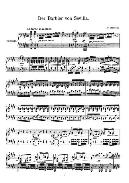 Rossini The Barber of Sevilla Overture, for piano duet(1 piano, 4 hands), PR821
