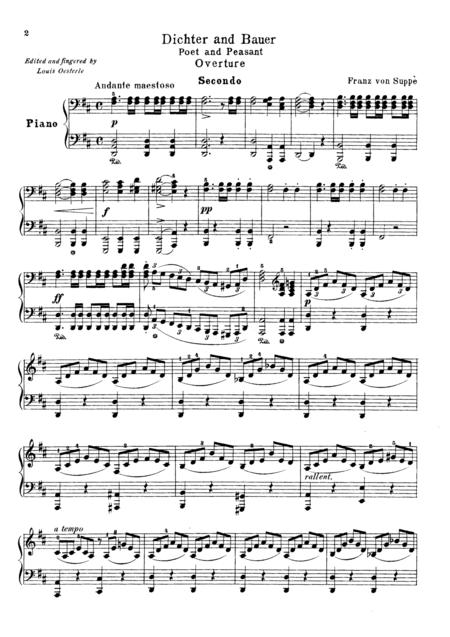 Suppe Poet and Peasant Overture, for piano duet(1 piano, 4 hands), PS821