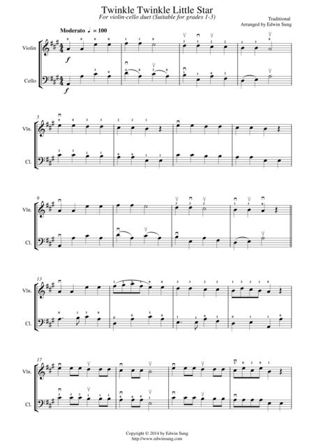 Twinkle Twinkle Little Star (for violin-cello duet, suitable for grades 1-3)