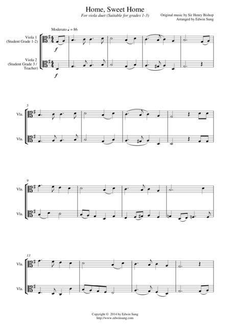 Home, Sweet Home (for viola duet, suitable for grades 1-3)