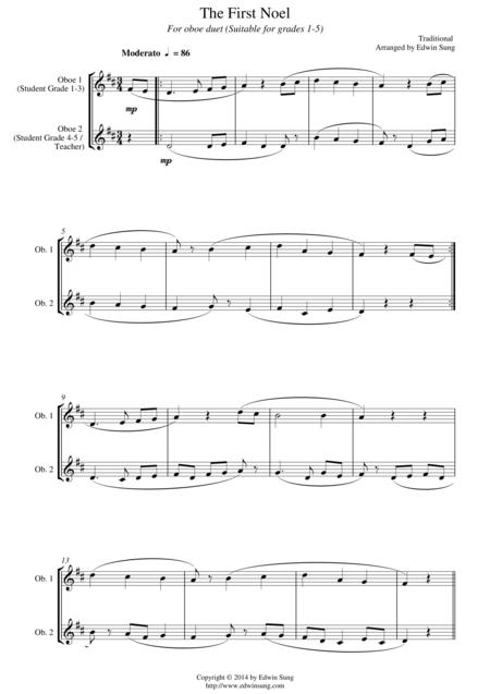The First Noel (for oboe duet, suitable for grades 1-5)
