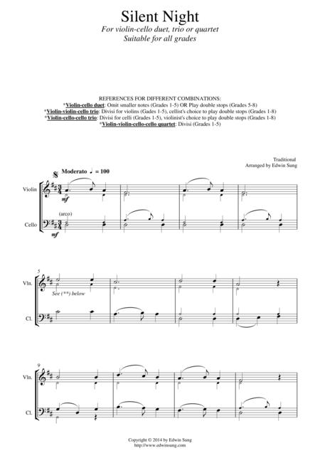 Silent Night (for violin-cello duet, trio or quartet. Suitable for ALL grades)