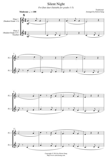 Silent Night (for flute duet, suitable for grades 1-5)