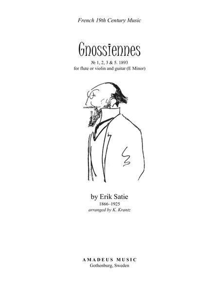 Gnossienne (1,2,3+5) for violin or flute (recorder) and guitar