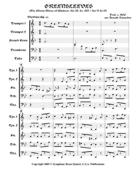 Greensleeves (from Shakespearean Music for Brass Quintet)