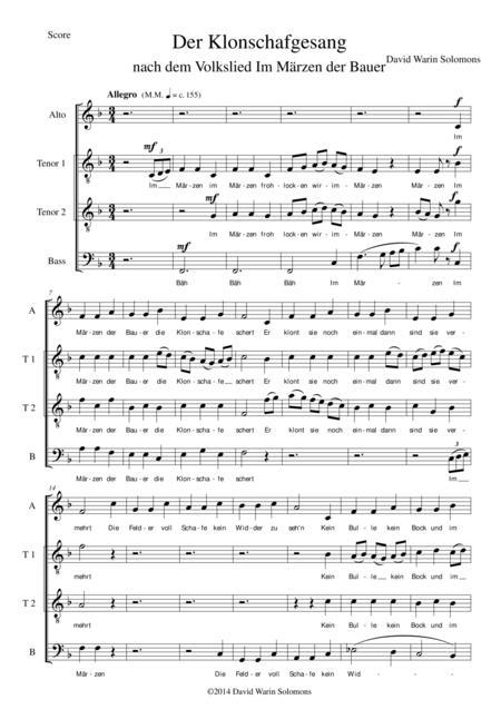 Der Klonschafgesang for male voice choir (ATTB)