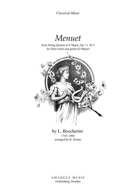 Famous Menuet / Minuet (G Major) for flute and guitar