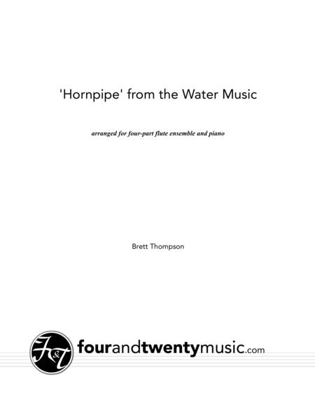 'Hornpipe' from the Water Music, arranged for four flutes and piano