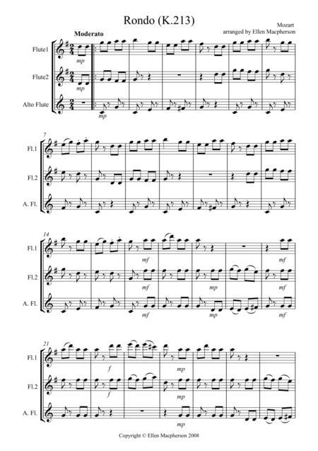 Rondo for Flute Trio K.213 by Mozart
