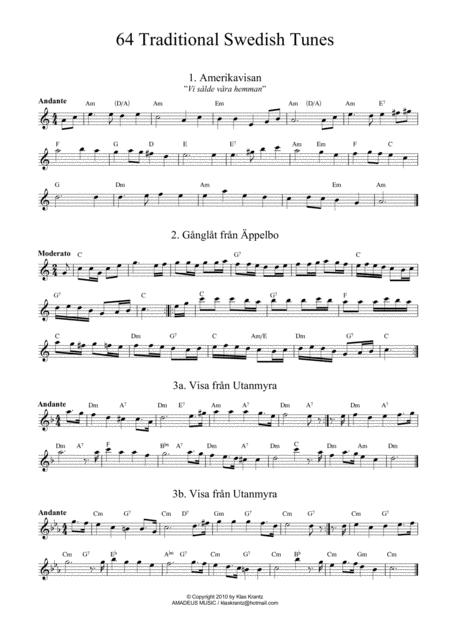 64 Traditional Swedish Songs for flute (or C instrument) with guitar chords