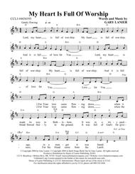 MY HEART IS FULL OF WORSHIP (Song Lead Sheet with melody, chords and lyrics)