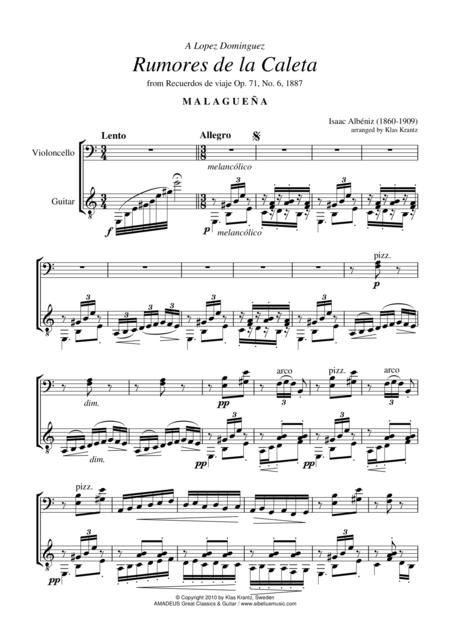 Rumores de la Caleta Op. 71 No. 6 for cello and guitar