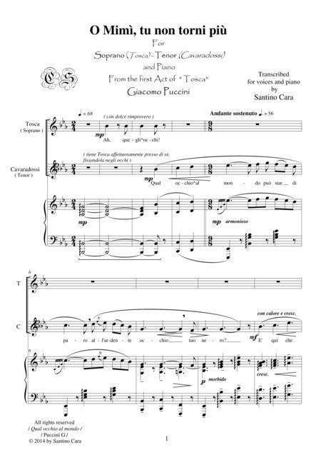 Puccini - Tosca (Act1) Qual occhio al mondo - Soprano, Tenor and piano