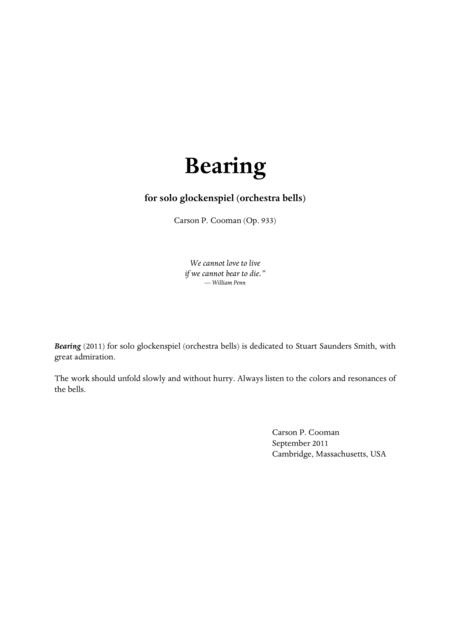 Carson Cooman - Bearing (2011) for solo glockenspiel (orchestra bells)