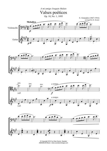 Valses poeticos Op. 10 (No. 1, 2, 4) for cello and guitar