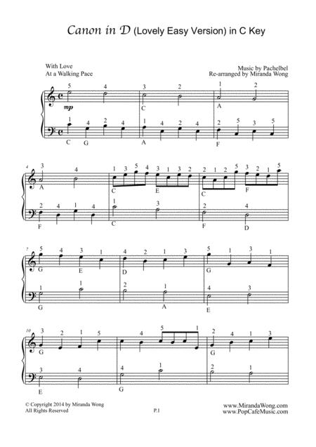 Download Canon In D Piano Solo In C Key Children Version Sheet