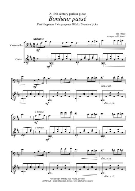 Bonheur passe / Past Happieness for cello and guitar
