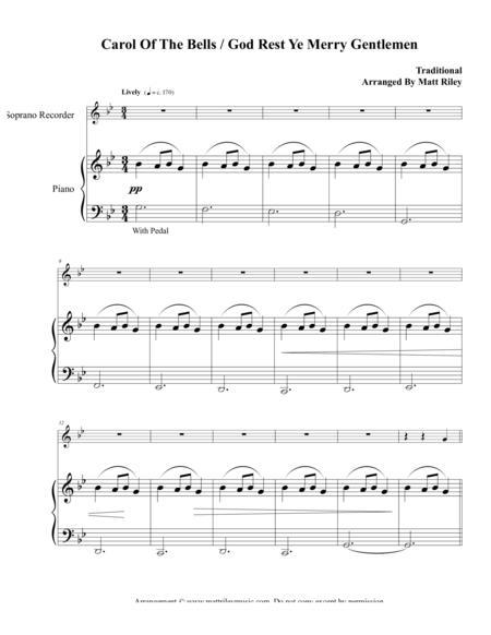 Carol of the Bells / God Rest Ye Merry Gentlemen – Soprano Recorder