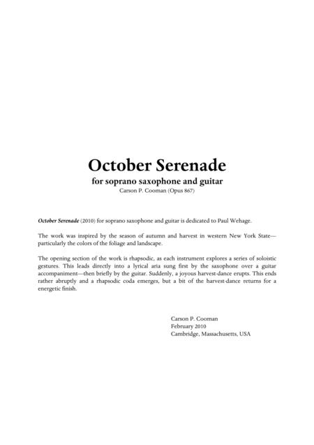 Carson Cooman : October Serenade (2010) for soprano saxophone and guitar