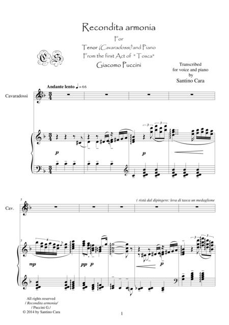 Puccini - Tosca (Act1) Recondita armonia - Tenor and piano
