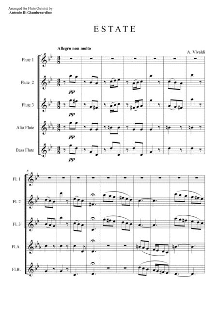 SUMMER (FOUR SEASONS) for Flute Quintet Flute Choir