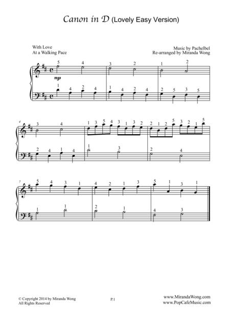 Canon in D - Romantic Piano Solo (Lovely Easy Version)