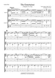 The Entertainer (abridged) for easy guitar duo (+TAB)