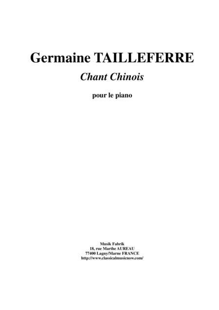 Germaine Tailleferre - Chant Chinois for piano