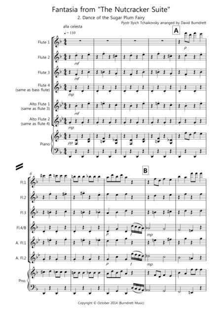 Dance of the Sugar Plum Fairy (fantasia from Nutcracker) for Flute Quartet