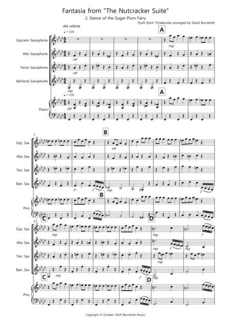 Dance of the Sugar Plum Fairy (fantasia from Nutcracker) for Saxophone Quartet
