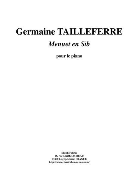 Germaine Tailleferre - Menuet en Sib for piano