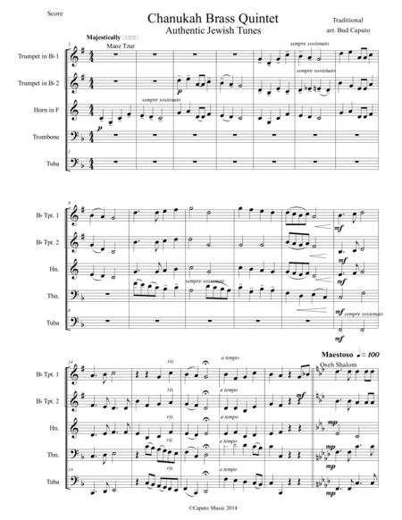 Hanukkah Medley for Brass Quintet-Score and Parts