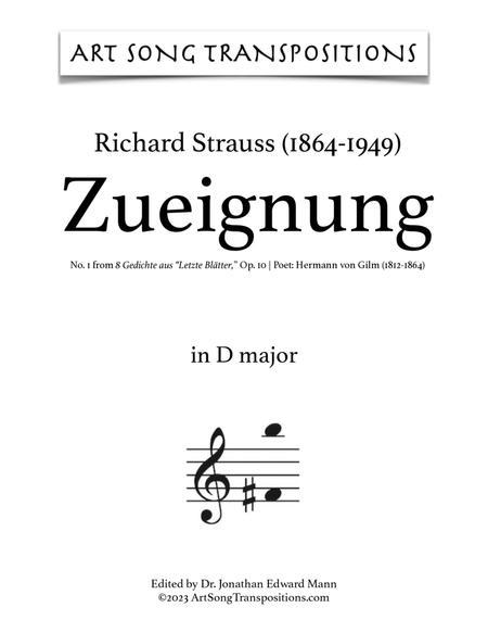 Zueignung, Op. 10 no. 1 (in 11 keys: D, D-flat, C, B, B-flat, A, A-flat, G, G-flat, F, E major)