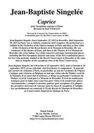 Jean-Baptiste Singelée - Caprice for Soprano saxophone and piano