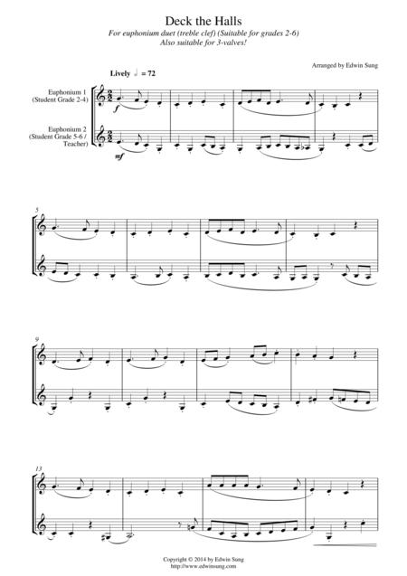 Deck the Halls (for euphonium duet(Bb treble, 3 or 4 valved), suitable for grades 2-6)
