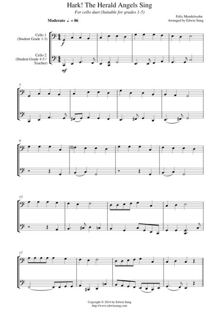 Hark! The Herald Angels Sing (for cello duet, suitable for grades 1-5)