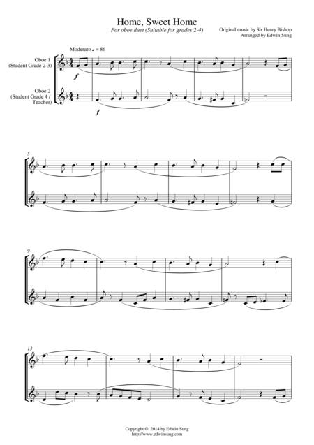 Home, Sweet Home (for oboe duet, suitable for grades 1-3)
