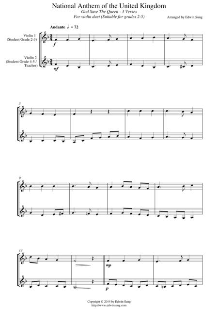 National Anthem of the United Kingdom (for violin duet, suitable for grades 2-5)
