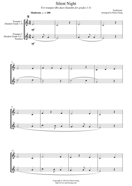 Silent Night (for trumpet (Bb) duet, suitable for grades 1-5)