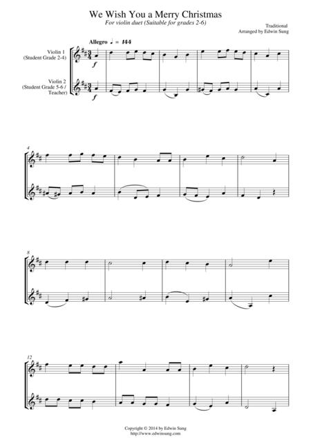 We Wish You a Merry Christmas (for violin duet, suitable for grades 2-6)