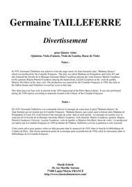 Germaine Tailleferre - Divertissement for viols