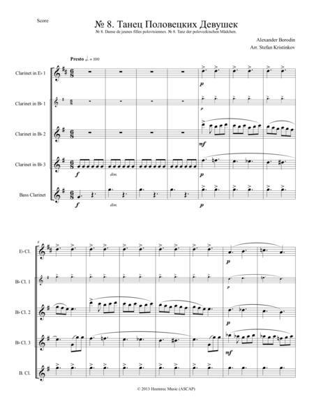 Alexander Borodin, Polovtsian Dances No.8, Arranged for Clarinet Quartet