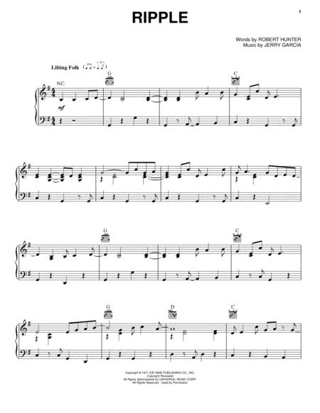 Download Ripple Sheet Music By The Grateful Dead - Sheet Music Plus