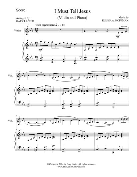 I MUST TELL JESUS (Violin/Piano and Violin Part)