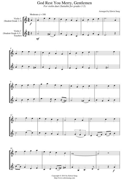 God Rest You Merry, Gentlemen (for violin duet, suitable for grades 1-5)