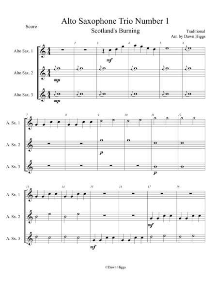 Alto Saxophone Trio Number 1  Scotland's Burning