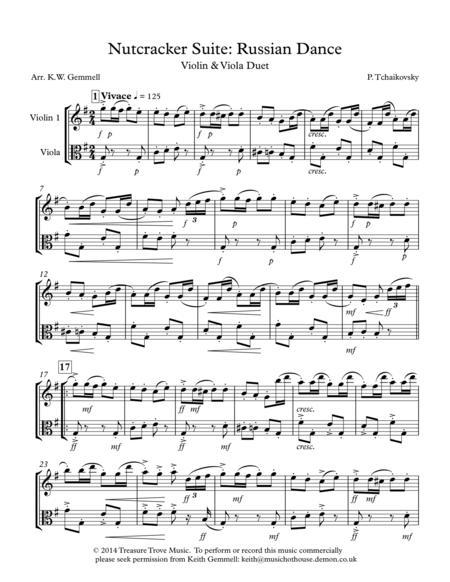 Nutcracker Suite: Russian Dance - Violin and Viola Duet